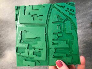 Billede af et grønt taktilt kort